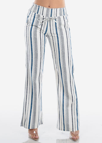 Image of Blue & White Striped Linen Pants