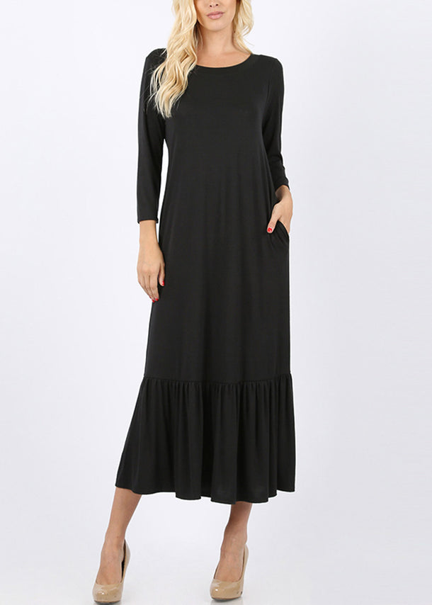 Ruffle Hem Black Maxi Dress