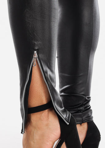 Black Pleather Leggings Side Zipper Stretchy