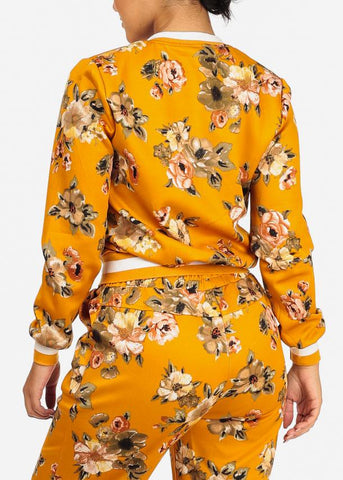 Image of Mustard Floral Zip Up Jacket