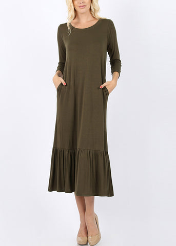 Ruffle Hem Olive Maxi Dress