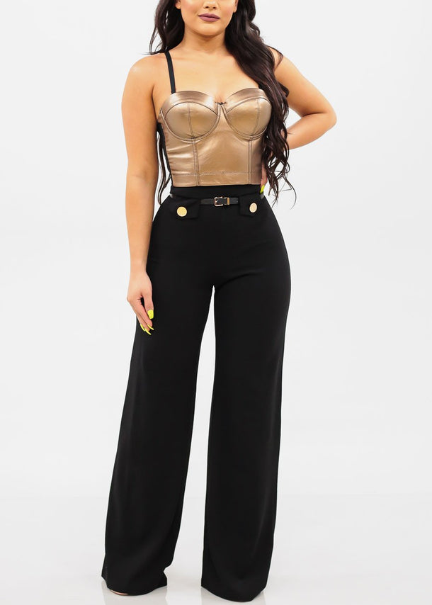 High Rise Belted Black Pants