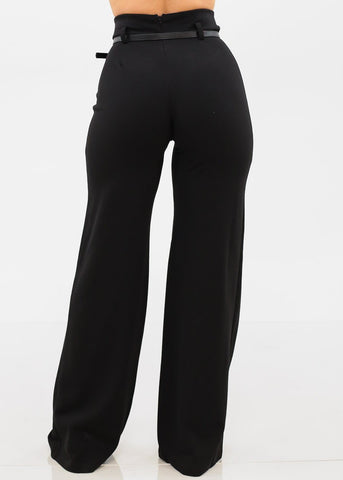Image of High Rise Belted Black Pants