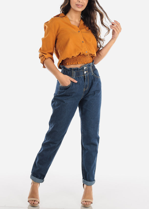 Mustard Elastic Waist Button Down Top
