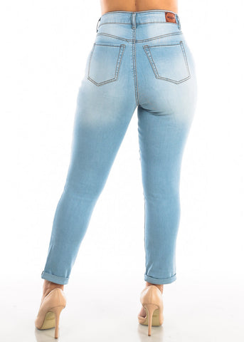 Plus Size Roll Cuff Light Wash Jeans