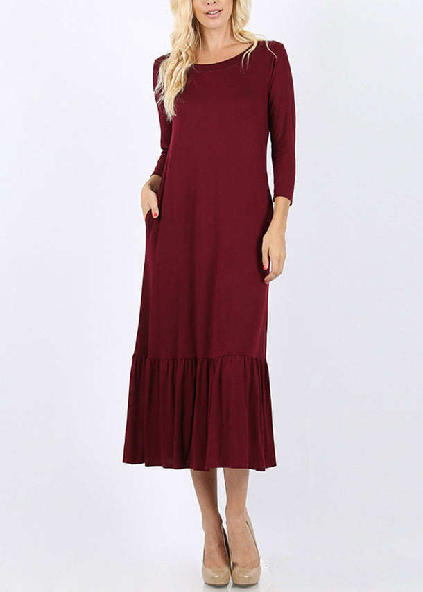 Ruffle Hem Burgundy Maxi Dress