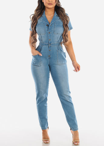 Button Up Light Wash Denim Jumpsuit