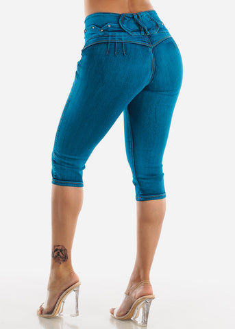 Butt Lifting Torn Teal Denim Capris