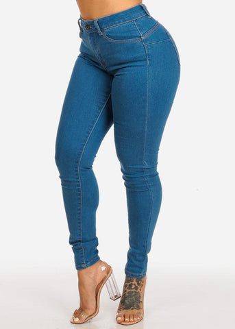Image of Med Wash High Rise Butt Lifting Skinny Jeans