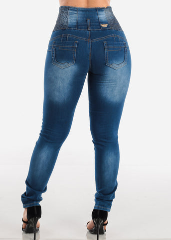 Sexy High Waisted Butt Lifting Levanta Cola 5 Button Med Wash Skinny Jeans For Women Ladies Junior Night Out Clubwear