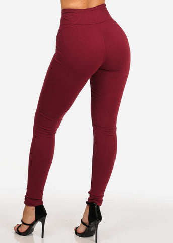 Image of Stylish Fashionable High Rise 3 Gold Button Butt Lifting Levanta Cola Burgundy Skinny Pants