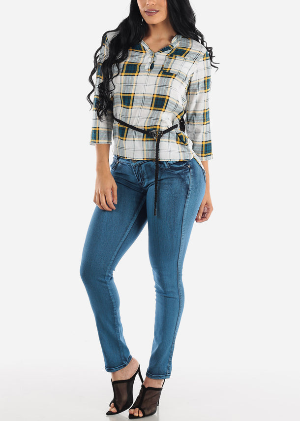 High Rise Blue Wash Push Up Skinny Jeans