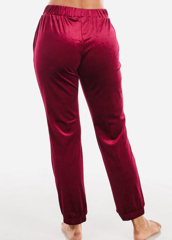 Image of Velvet Burgundy Jogger Pants