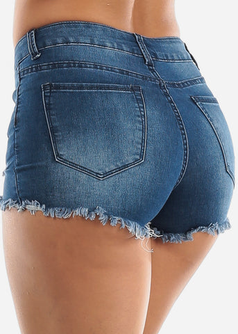Ripped Med Wash Denim Shorts