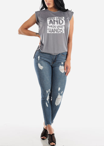 High Rise Distressed Faded Skinny Jeans