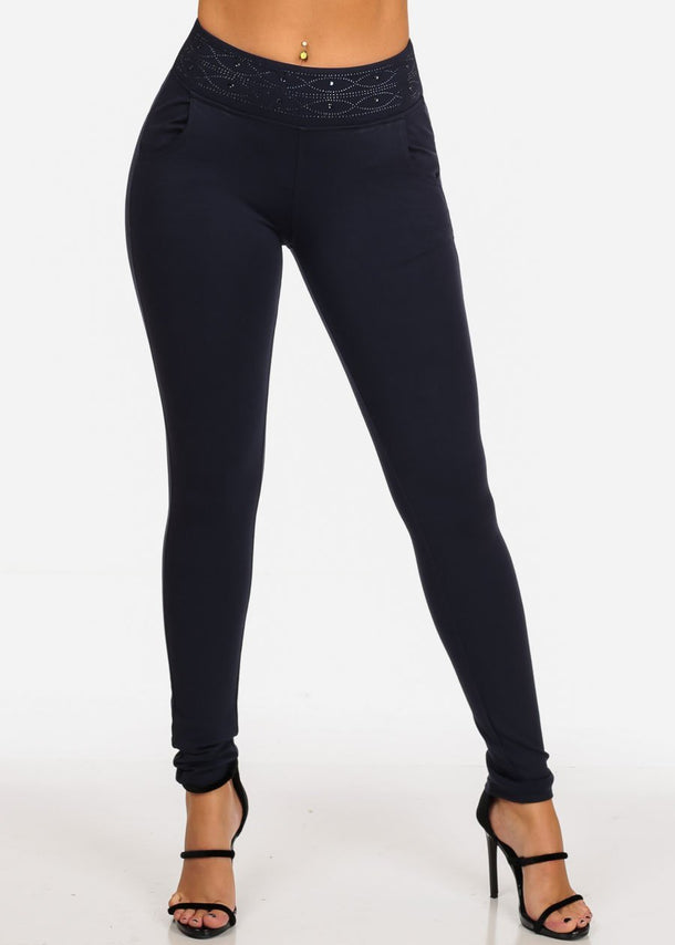 Women's Junior Ladies Sexy Must Have Trendy Going Out High Waisted Pull On Solid Navy Waist Line Detail Stretchy Pants
