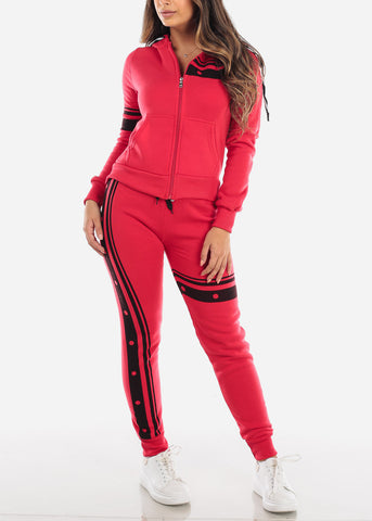 Image of Red Fleece Sweater & Pants (2 PCE SET)