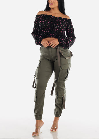 Image of High Rise Olive Cargo Pants