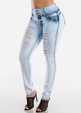 Butt Lifting Light Wash Torn Skinny Jeans
