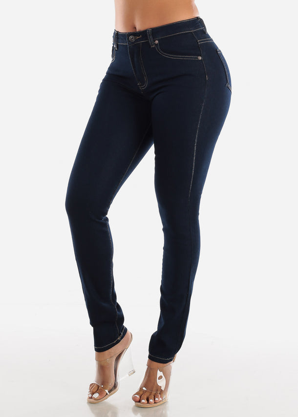 High Rise Dark Wash Skinny Stretchy Jeans