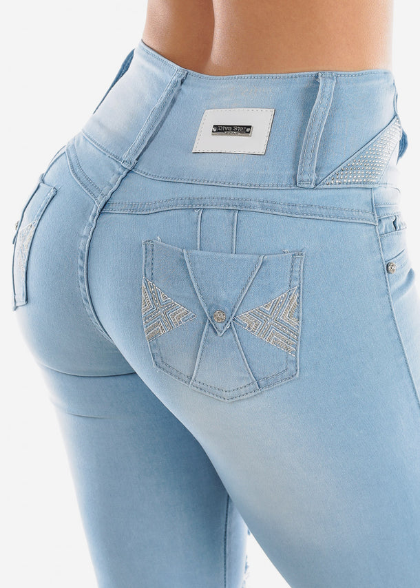 High Rise Torn Butt Lifting Light Skinny Jeans