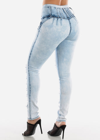 Torn Light Wash Butt Lifting Skinny Jeans