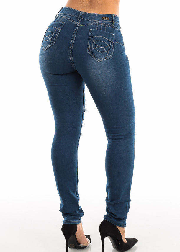Med Blue Wash Ripped Push Up Skinny Jeans