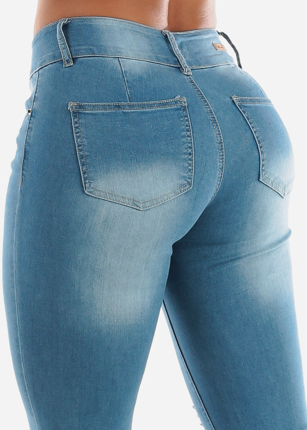 High Rise Butt Lifting Distressed Skinny Jeans
