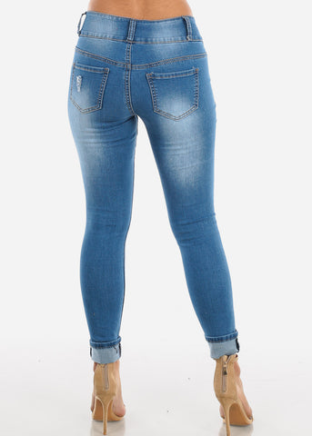 Medium Wash Ripped Skinny Jeans