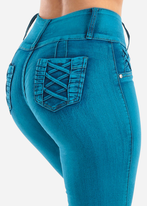 Mid Rise Blue Skinny Jeans