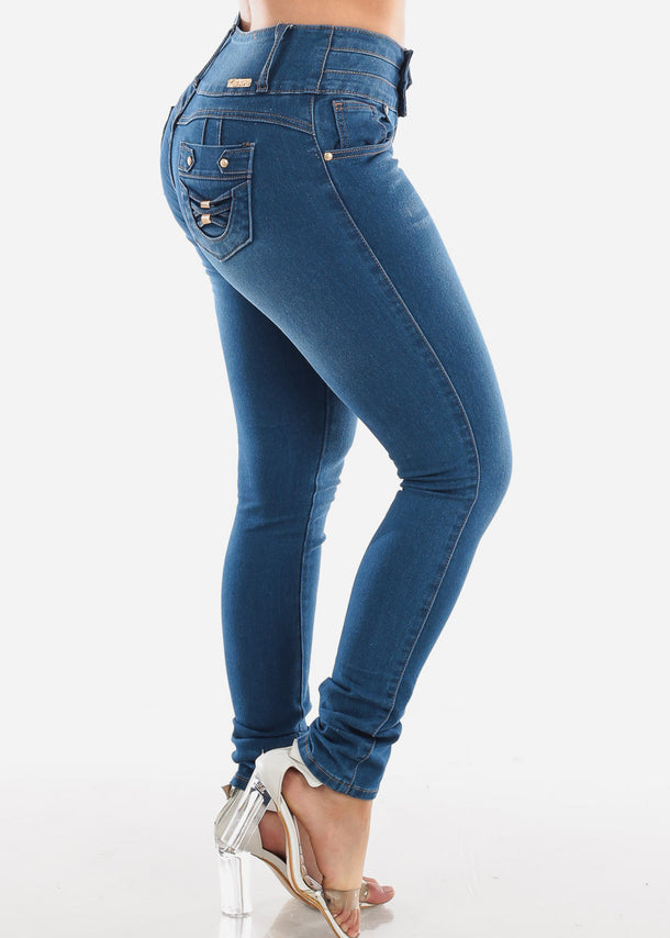 Butt Lifting Medium Wash Skinny Jeans