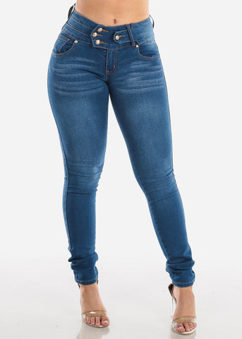 Sexy Mid Rise Butt Lifting Levanta Cola 4 Button Butt Lifting Med Wash Skinny Jeans