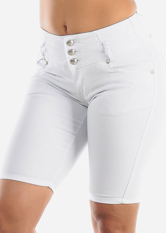 Butt Lifting White Denim Bermuda Shorts