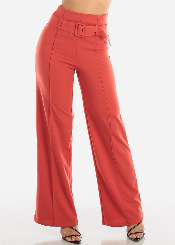 Brick High Waisted Palazzo Trousers With Belt