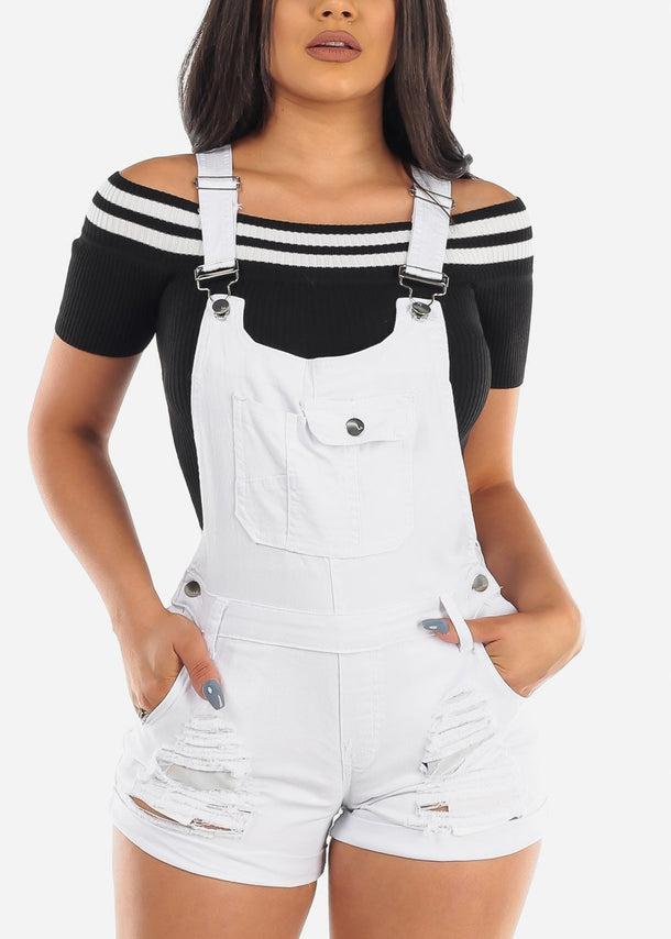 Sexy Cute Solid White Distressed Ripped Denim Overall Romper For Women Ladies Junior 2019 New Collection