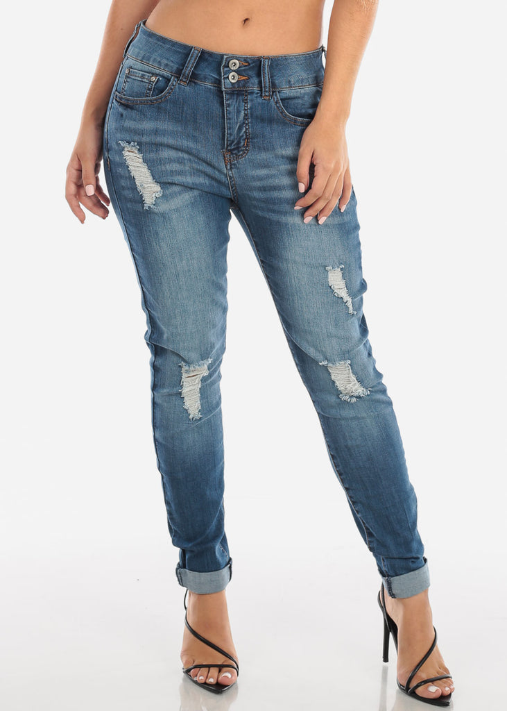 High Rise Distressed Straight Leg Jeans