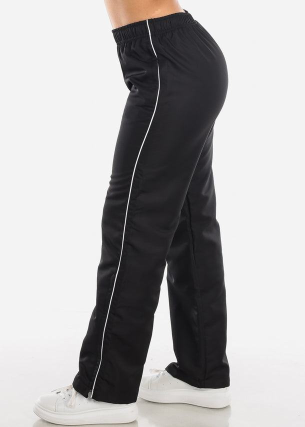 White Stripe Black Track Lining Pants