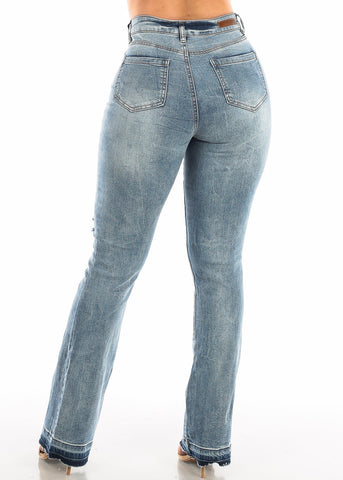 Image of Faded Torn Wide Legged Jeans