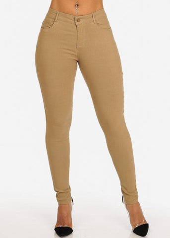 Classic One Button Stretchy Going Out Night Out Sexy Basic Khaki Skinny Pants