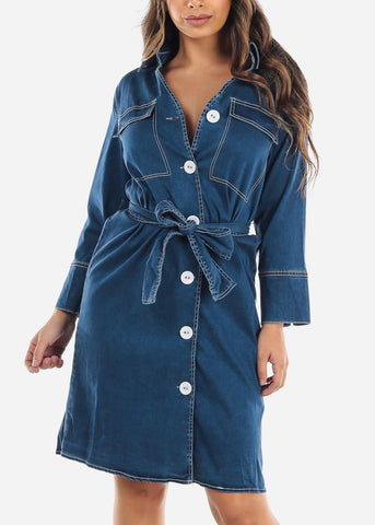 Image of Button Up Tie Front Denim Dress