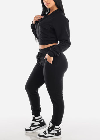Image of Black Cropped Jacket & Jogger Pants (2 PCE SET)