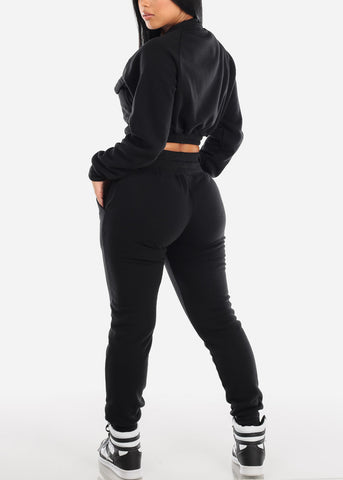 Black Cropped Jacket & Jogger Pants (2 PCE SET)