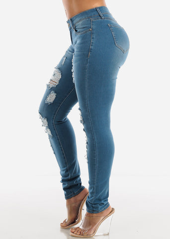Torn Light Wash Skinny Jeans
