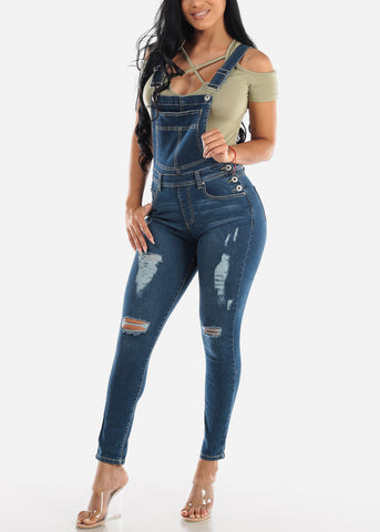 Image of Med Wash Distressed Denim Overall