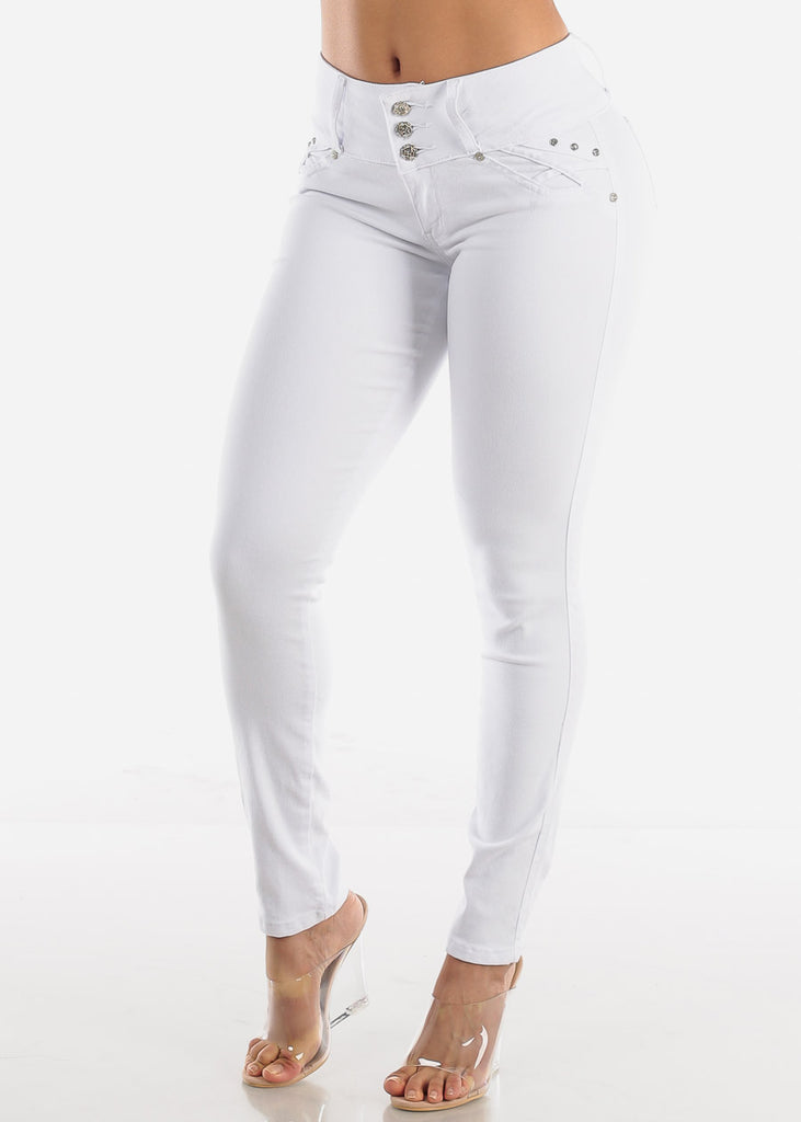 Butt Lifting White Skinny Jeans