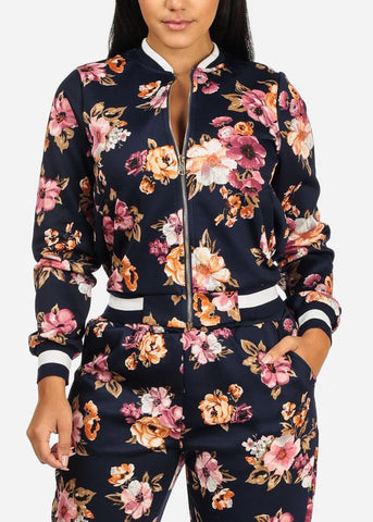Image of Navy Floral Zip Up Jacket