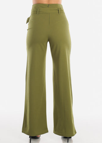 Image of Olive High Waisted Palazzo Trousers With Belt