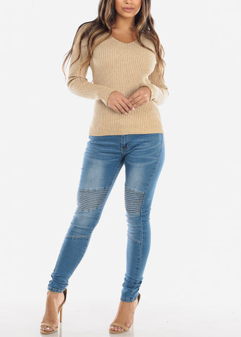 Light Wash Moto Skinny Jeans