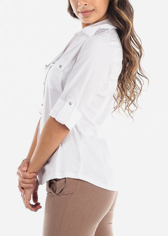 Elbow Sleeve Button Up White Shirt