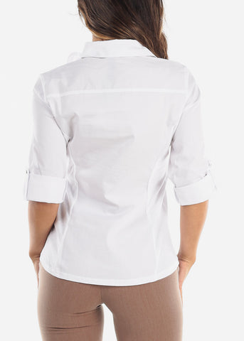 Image of Elbow Sleeve Button Up White Shirt